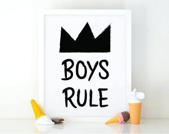 Boys Rule, Kids wall art, printable wall art, kids Print, room decor, boys rule print, Black and white art, baby boy nursery, Nursery art