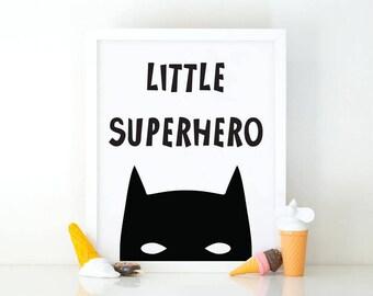 Little Superhero, Nursery Art, Instant Download, Room Decor, Nursery print, Comic print, Printable art, batman poster, kids wall art, comics