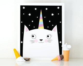 Catunicorn, Caticorn print, Kitten print, Cute baby animal, meowgical, Girls room decor, Nursery decor, cute wall art, nursery wall art