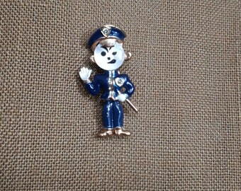 Police Man Pin Mother of Pearl Face 1940's