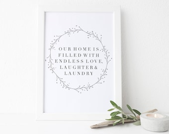 Laundry Room Print, Laundry Wall Art, Love Laughter Laundry