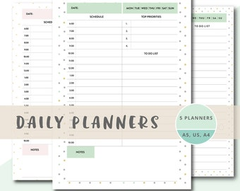 Printable Daily Schedule, Daily Planner Template, Daily Planner To Print,  Day Designer Printable  Downloadable Daily Planner