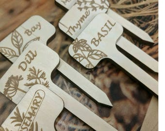 Herb Garden Stick Markers // Set of 6 // Wood Sticks // Dill // Bay // Thyme // Rosemary // Mint // Basil