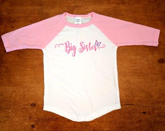 Big Sister Pink and White Baseball Shirt - Part of the Matching Big Sister Little Sister Shirt Set