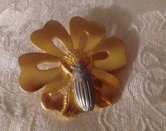JJ Jonette Good Luck Beetle/Flower Pin: