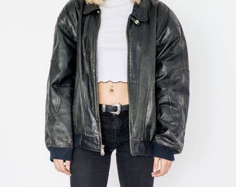 90s Oversize God Save The Queen Leather Jacket