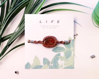 Gemstone Bracelet Macrame Woven / Jasper Gemstone / Cord Bracelet