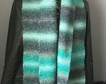 Hand Knit Scarf, Knitted Scarf, Handmade Scarf, Ladies Scarf, Women's Scarf, Winter Scarf, Striped Scarf, Blue Scarf, Grey Scarf, Gift Idea