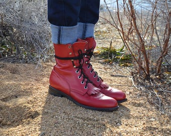Vintage Red Leather Cowboy Combat Boots, Justin Kilties Boots, Sz 6.5