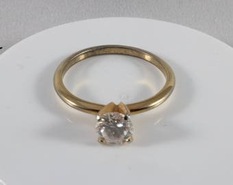 Gold Tone White Cz Solitaire Ring Size 9
