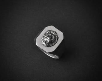 Lion Octagon Stamp Ring | lion ring | statement ring | lion head ring | 925 | silver signet ring | silver ring | leo ring | lion jewelry