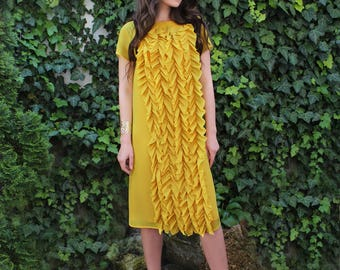 Yellow Chiffon Dress with ruffles, Summer dress, Cocktail Dress, Yellow Midi Dress, Yellow Dress, Dress with sleeves, Ruffle Dress
