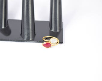 ruby ring , moonstone ring , red color ring , tiny gemstone ring, natural stone ring, double stone ring, adjustable ring , gold plating ring