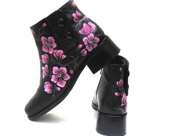 Cherry Blossom Hand Painted Upcycled Women's Leather Ankle Boots