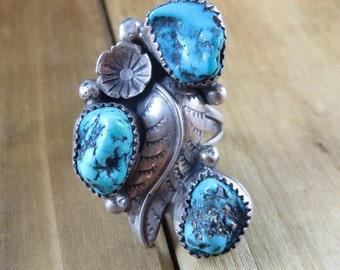 Vintage Turquoise Southwest Ring Signed ESL Size 8 1/4