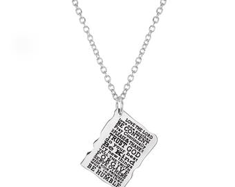 "Stainless Steel Love and Kindness Inspirational Religious Pendant, 18"" Chain Necklace"