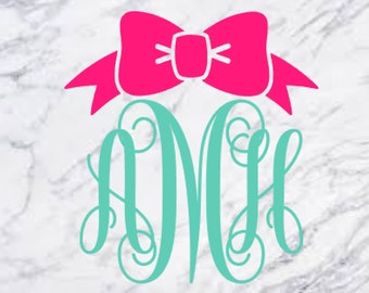 Monogram Bow Decal, Bow Monogram Sticker, Yeti Monogram, Tumbler Monogram, Cup Sticker, Laptop Bow Monogram, Monogram Car Decal, Window, MB1