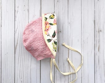 Pink Sun Bonnet | Baby Bonnet Girl | Baby Shower Gift | Baby Girl Gift | Pink Baby Bonnet | Toddler Sun Bonnet | Baby Girl Bonnet