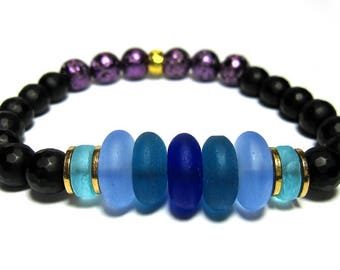 Multi-Colored Sea Glass, Faceted Matte Black Onyx, Gold Accents. Roll On Bracelet.