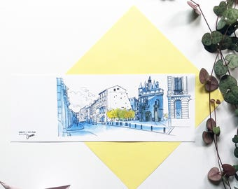 Bookmark Bordeaux drawing door Cailhaux illustration Burgundy Center architecture door watercolor, landscape drawing City urban france