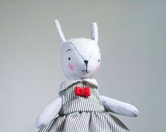 Rabbit bunny soft art toy in dress
