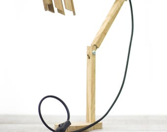 Handmade Oakwood desk lamp, scandinavian & architect design with a hand-colored rope