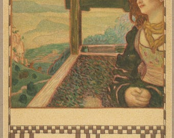 Lady Gazes Over Lands at Sunrise | Antique 1900's Postcard | Art Nouveau | Jugendstil | Pastoral Romantic Scene | Contemplation |