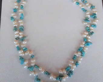 Fresh Water Pearls and Turquoise Beaded Necklace with Silver Tone Clasp