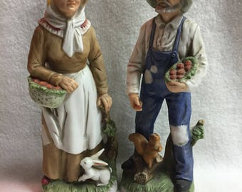 Homco Old Farming Man and Woman Figurines (#166)