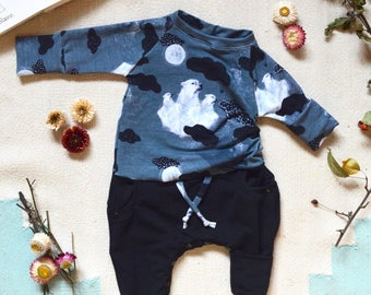 Grow with me Romper Unisex baby kid clothing Coco Dandelion polar bear blue black cloud star automn handmade in canada bamboo