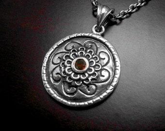 Silver Necklace,vintage necklace,vintage pendant,pendentif argent,collier argent,garnet necklace,antique necklace,mothers day gift