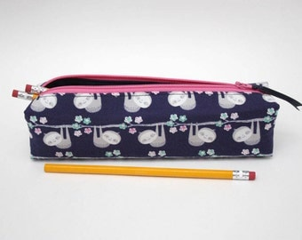 Sloth Pencil Case, Makeup Brush Bag, Rectangular Pouch, Zippered Pouch, Navy Pencil Pouch, Boxy Pencil Case, Cute Animal bag