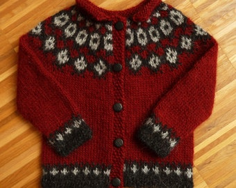 Red Island wool sweater for kids-Lopi Lopapeysa