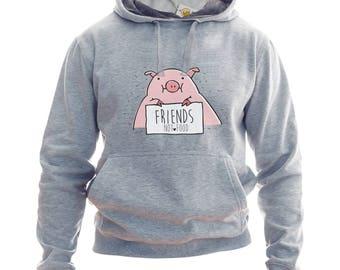 Friends Not Food Hoodie Or Sweatshirt Piggie Hoodie Vegan Sweatshirt Vegan Hoodie Vegan Clothing Vegan Sweater Vegan Hoodie Vegan Sweatshirt