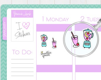 Smoothie Stickers, Planner Stickers, Fruit Smoothie Stickers, Drink Stickers, Calendar Stickers, Small Kawaii Stickers, Labels