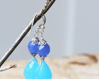 Blue Chalcedony Briolette Earrings, Faceted Blue Gemstone Earrings, Long Dangling Chalcedony Briolette Earrings