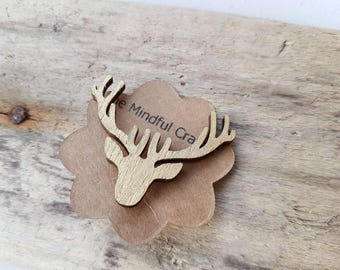 Deer brooch stag brooch  stag brooch deer badge stag tie pin Christmas jewellery reindeer Deer jewelry stag jewellery winter gold deer