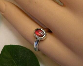 Ammolite Ring Sterling Silver  OOAK Utah Gem in .925 Sterling Silver Statement Ring Size 5  Red 355 B