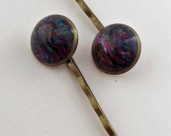 HP-009 Polymer clay bobby pin set of 2 –  OndraAbstract