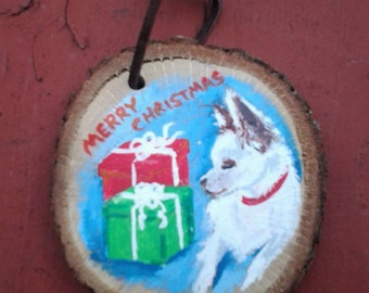 Custom Dog Christmas Portrait Ornament