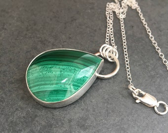 Stunning Malachite pendant necklace, Sterling silver Malachite necklace, Teardrop necklace, Sterling silver necklace, Green gemstone pendant