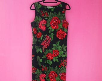 Red Roses Floral 90s Shift Dress