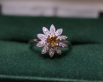 18K White Gold Citrine and Diamond Flower Design Statement Ring
