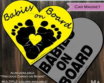 Babies on Board Car Magnet Baby in Car Magnet Heart Footprints Yellow Custom Car Safety Child Parking Lot Kids Car Safety - Magnet - Reapply