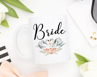 Bride Mug,Wedding Date Mug,Bridal Shower Gift,Bridal Party Gift,Gift For Bride,Bride Gift,Swan Mug,Wedding Gifts,Wedding Mugs,Bridal Mug