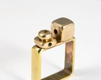 Geometric jewelry, Pinky ring, Geometric ring, Brass ring, Yellow ring, Square jewelry, Italian jewelry, Brass jewelry, Square ring