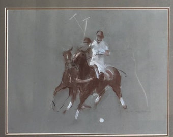 Original Pastel on Paper of Two Polo Players by Heather St. Clair Davis (1937-1999)