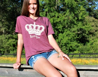 ROYALTY heathered plum v-neck vintage-style tee with cream crown