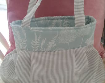 Pretty Fabric striped, hedgerow blue printed bag, handbag, shopping bag