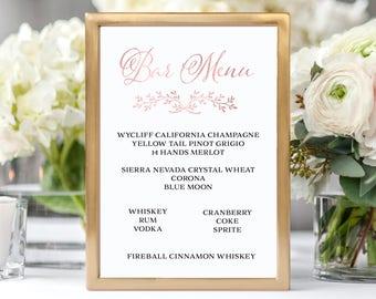 Rose Gold Printable Wedding Bar Menu Bar Menu Sign Wedding Bar Sign Wedding Sign Wedding Bar Menu Printable Drink Menu Instant Download